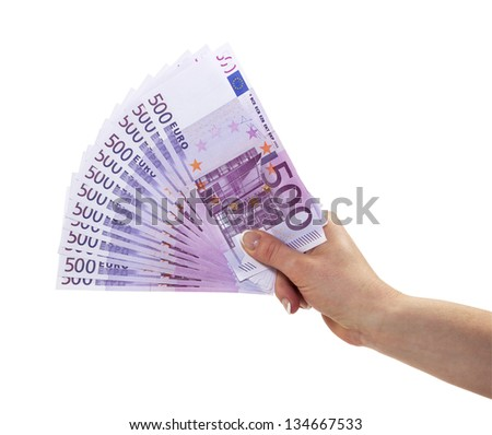 Large amount of �¢?�¬ 500 banknotes in female hand