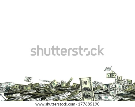 large amount of dollars - stock photo