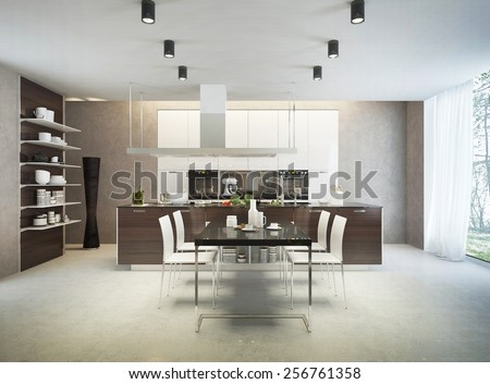Large and bright kitchen interior in Contemporary style with built-in kitchen furniture and side tables. The kitchen in white and brown colors with a glossy and matt surface. 3D render. - stock photo