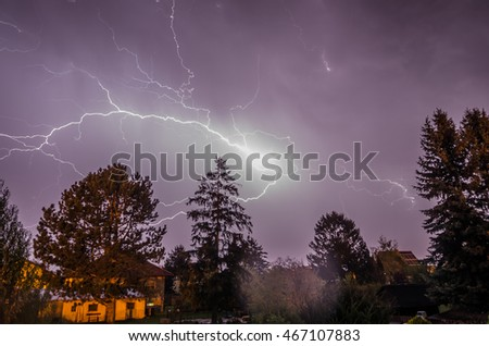 Large and bright lightning in the night