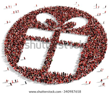 Large and diverse group of people dressed in red, gathered together in the shape of a gift box - stock photo