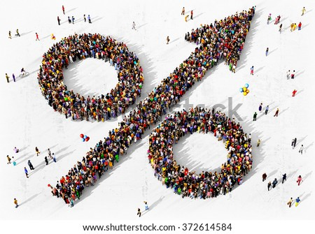 Large and diverse group of people dressed in yellow clothes gathered together in the shape of an percent increase symbol - stock photo