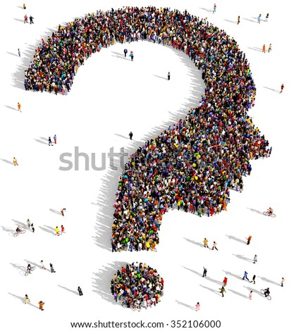 Large and diverse group of people gathered together in the shape of a human head question mark - stock photo