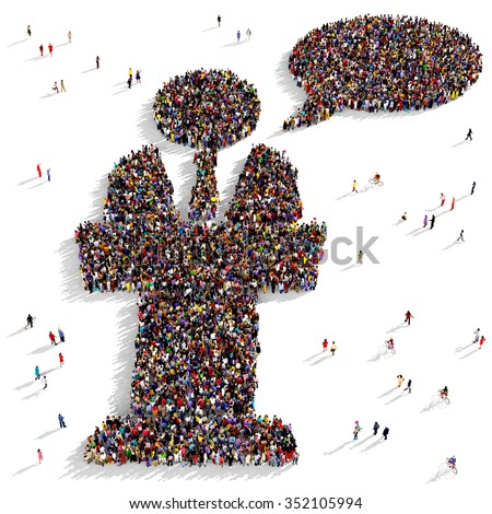 Large and diverse group of people gathered together in the shape of a public speaker icon - stock photo