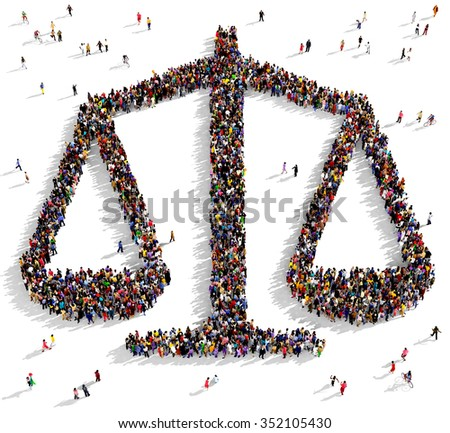 Large and diverse group of people gathered together in the shape of a scales icon - stock photo