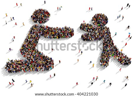 Large and diverse group of people seen from above gathered together in the shape of a child care symbol, 3d illustration - stock photo