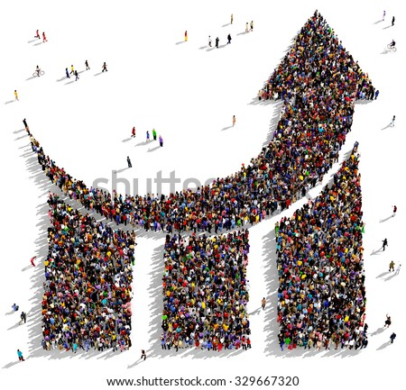 Large and diverse group of people seen from above gathered together in the shape of a curved graph arrow pointing up - stock photo