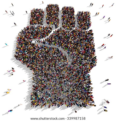 Large and diverse group of people seen from above gathered together in the shape of a fist up symbol - stock photo