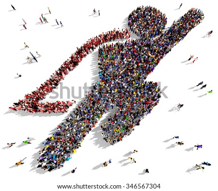 Large and diverse group of people seen from above gathered together in the shape of a flying superhero - stock photo