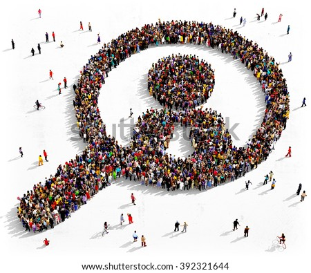 Large and diverse group of people seen from above gathered together in the shape of a magnifying glass searching people  - stock photo