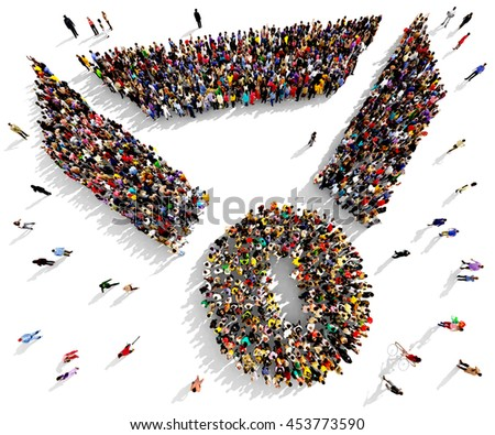 Large and diverse group of people seen from above gathered together in the shape of a medal symbol, 3d illustration - stock photo