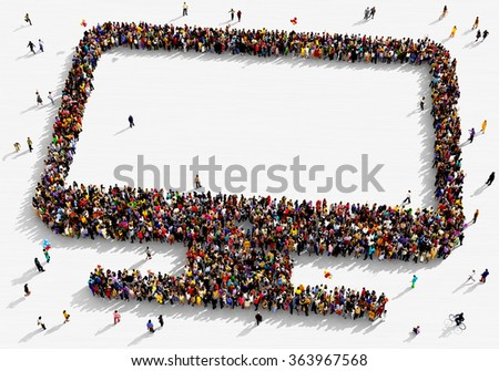 Large and diverse group of people seen from above gathered together in the shape of a monitor  - stock photo