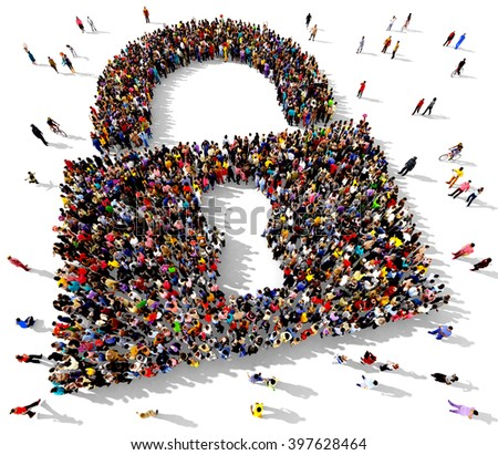 Large and diverse group of people seen from above gathered together in the shape of a padlock symbol - stock photo