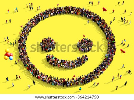 Large and diverse group of people seen from above gathered together in the shape of a smiling face, standing on a yellow background - stock photo