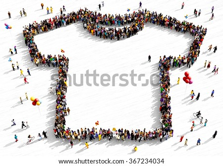 Large and diverse group of people seen from above gathered together in the shape of a t-shirt - stock photo