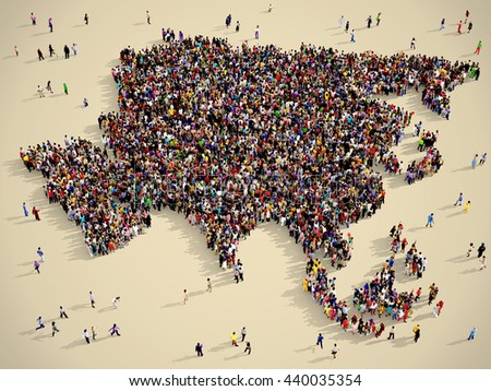 Large and diverse group of people seen from above gathered together in the shape of Asia map, vintage style, 3d illustration - stock photo