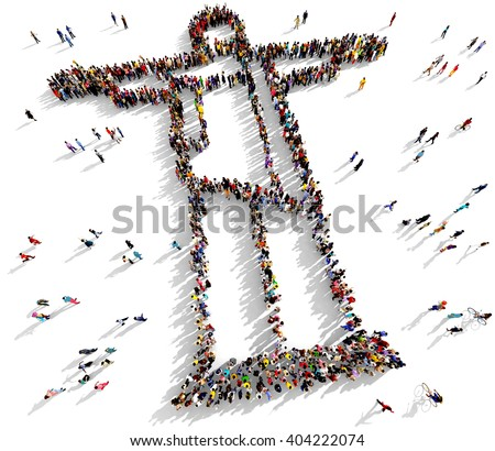 Large and diverse group of people seen from above gathered together in the shape of Jesus Christ standing with open arms, 3d illustration - stock photo