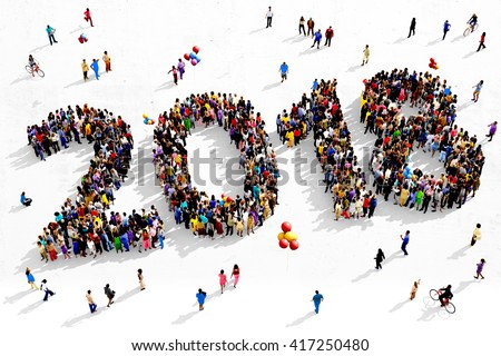 Large and diverse group of people seen from an aerial perspective, gathered together in the shape of number 2018, 3d illustration