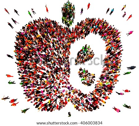 Large and diverse group of people seen from an aerial perspective gathered together in the shape of a red apple, 3d illustration - stock photo