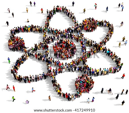 Large and diverse group of people seen from an aerial perspective gathered together in the shape of the atom symbol, 3d illustration - stock photo