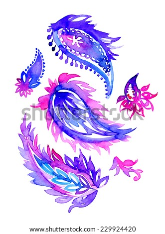 large and small artistic vivid beautiful paisleys with floral elements isolated on white. artistic illustration - stock photo
