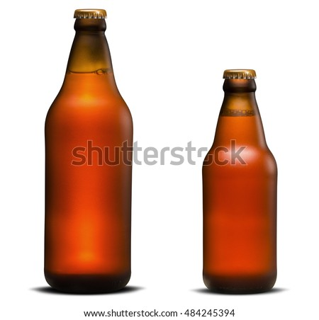 Large and small Bottle of Beer isolated in white background