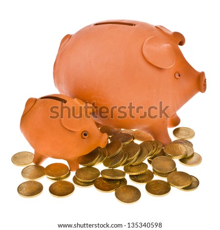 large and small piggy bank and scattered coins isolated on white background - stock photo
