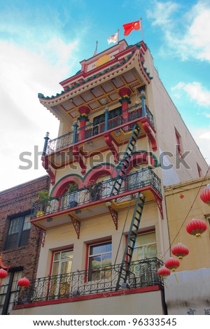 Large apartment building in San Francisco Chinatown - stock photo