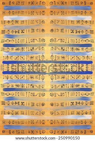 LARGE background texture, color brush strokes painting canvas acrylic handmade decorative elements symbols yellow blue white B