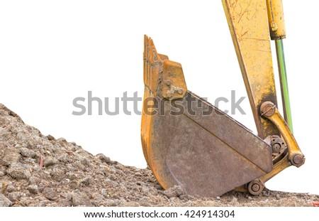 Large backhoe heavy dig soil stone, isolated - stock photo