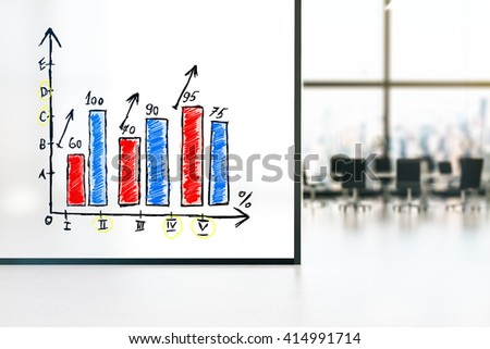 Large banner with business graph in conference room interior. 3D Rendering - stock photo