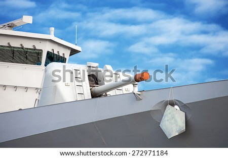 Large battle ship with a gun. - stock photo