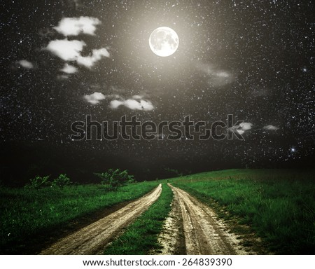 Large beautiful spring the field with a distant kind on a forest in night and bright moon on sky. Elements of this image furnished by NASA - stock photo