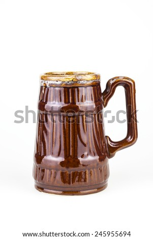 Large beer ceramic cup - stock photo
