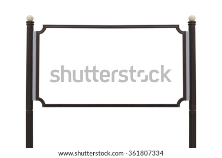 Large Billboard wooden sign post isolated white background.