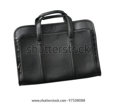 Large black leather briefcase on white background