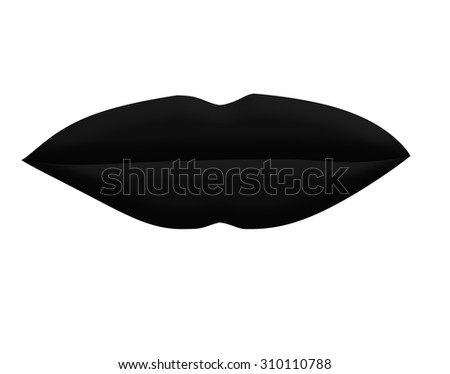 Large Black Lips on White