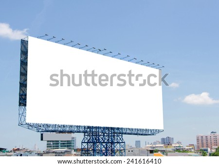 large blank billboard on road with city view background - stock photo
