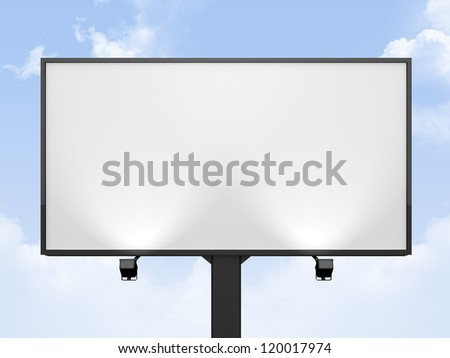 Large blank, empty, white billboard screen, on cloudy sky, for your advertisement and design. - stock photo