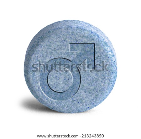 Large Blue Pill With a Male Symbol Isolated on White Background. - stock photo