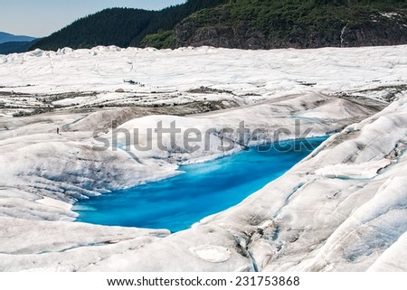 Large blue pools on the surface of Mendenall Glacier in Juneau, Alaska - stock photo