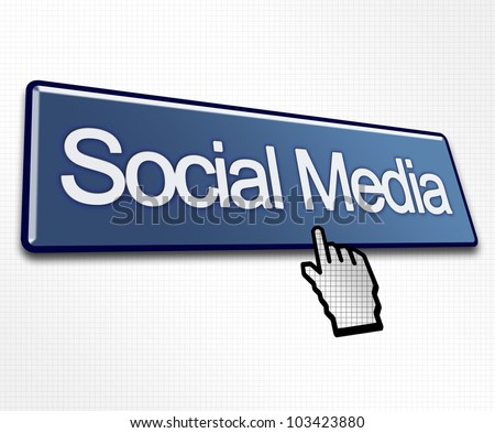 Large Blue Social Media Button with Hand Cursor Click - stock photo