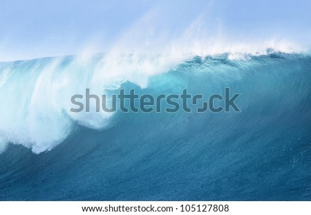Large Blue Surfing Wave - stock photo