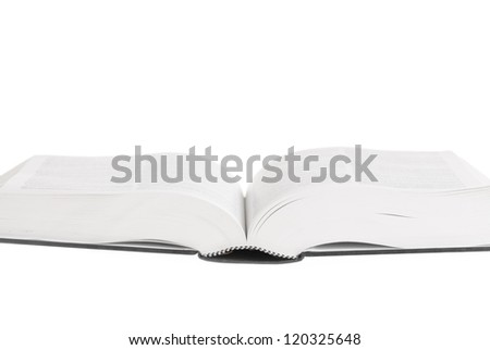 Large book open against white background.