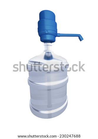 Large bottle of water side isolated on white background - stock photo