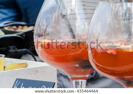 large bowl with a fruit drink at the fair - stock photo