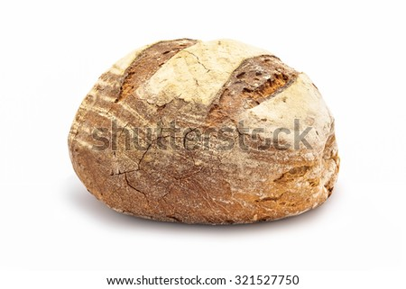 large bread isolated on white - stock photo