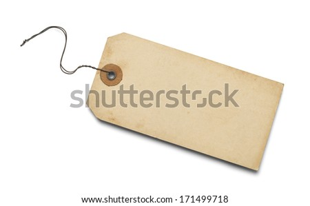 Large Brown Tag with Copy Space Isolated on white Background. - stock photo