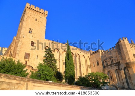 Large building with Gothic architecture of the Papal Palace (Palais des Papes) at sunset, Avignon, Provence, France - stock photo