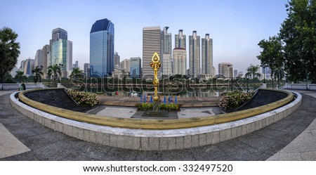 Large buildings cityscape in Bangkok , Thailand . - stock photo